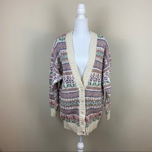 Vintage Chunky Pink Button Up Cardigan Sweater